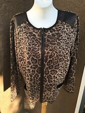 New Chico's Brown Tan Leather Animal Moto Cardigan Sweater Jacket 3 XL 16/18 NWT