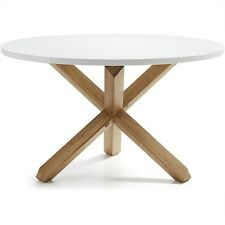 FINN ROUND  DINING TABLE - WHITE / NATURAL