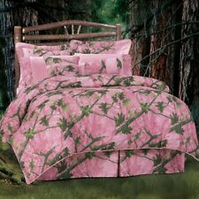 Pink Leafy Oak Camo Cotton Country Cottage King 6-Piece Bed Set