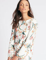 MARKS & SPENCER IVORY MIX FLORAL PRINT FLUTE SLEEVE TUNIC TOP Sizes 10 to 22