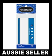 """50 BLUE """"HELLO MY NAME IS"""" NAME TAGS LABELS BADGES STICKERS PEEL STICK ADHESIVE"""