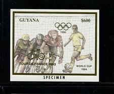 Guyana Soccer World Cup Tour de France Michel BL 335-36var Set of 2 Specimens