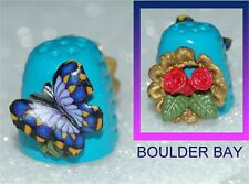 BOULDER BAY- HAND CRAFTED FIMO Thimble #176 LARGE BUTTERFLY and NESTED ROSES