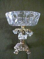 Antique Crystal Brass Compote Pedestal Bowl Cut ABC Glass 10 Prisms Centerpiece