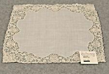 Vtg Antique White Handkerchief Hanky Pink Floral Lace Bride Wedding Hankie