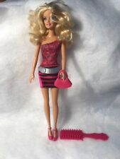 Mattel Barbie Fashionista Doll Blond Blue Eyes Pink Striped Skirt Gray Belt