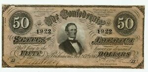 1864 $50 dollar bill CSA T-66 Confederate Currency.