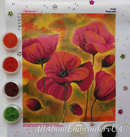 Bead Embroidery Handcraft kit Red Poppies Needlepoint Beaded stitching Flowers