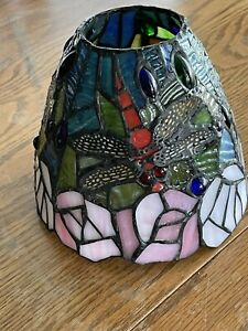 """Tiffany Style Dragonfly & Roses Stained Glass Lamp Shade Colorful 5.5"""" X  6"""""""