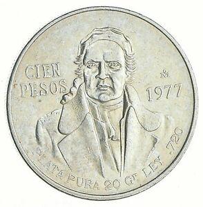 SILVER - WORLD COIN - 1977 Mexico 100 Pesos - World Silver Coin *121