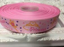New 1 Metre Pink Princess Print Grosgrain Ribbon Designer 22mm Cakes Bow Dummy