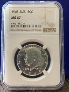 1965 SMS Silver Kennedy Half Dollar NGC MS 67