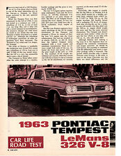 1963 PONTIAC TEMPEST 326/260 HP  ~  ORIGINAL 4-PAGE ROAD TEST / ARTICLE / AD