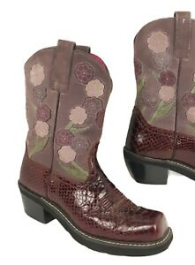 Ariat Burgundy Floral Suede Snakeskin Leather Square Toe Cowboy Boot Size 9B