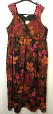 BROWN ORANGE PINK FLORAL LADIES PARTY LONG MAXI DRESS SIMPLY BE SIZE 18 F.LINED