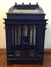 Victorian Reproduction Dome Top Wooden Bird Cage Vintage Blue, Large Cathedral