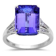 6.11ct Genuine Emerald Cut Tanzanite & Diamond Engagement Ring Size 7
