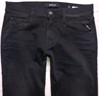 Mens REPLAY Anbass Jeans W30 L32 Black Tapered Fit M914