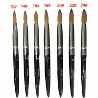 Hot 1PC Kolinsky Sable Acrylic Nail Art Brush Crimped  Manicure Tool Size 8-24