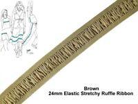 Brown 24mm Elastic Stretchy Ruffle Elasticated Ribbon Band Sewing (1/3/5/10/25m)