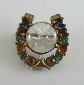 Antique/vintage horseshoe designed brooch glass centre with intaglio carved bird