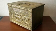Antique Fireplace Wood Box Basket Wooden Brass Decorated Used Good Condition