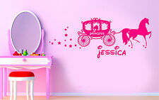 Princess Horse And Carriage Personalised Wall Art Sticker/Decal