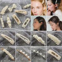 Femme Vêtements perle cheveux Clip Barrette Snap Stick épingle cheveux accessoir