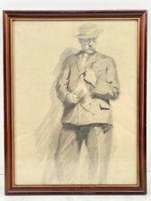 Floyd Macmillan Davis Original Drawing - Man in Suit Pencil on Paper c. 1920's