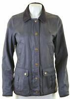JACK WILLS Womens Harrington Jacket UK 10 Small Navy Blue Cotton  K114