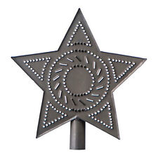 Rustic Punched Tin Star Christmas Tree Topper in Blackened Tin