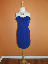 Mark & James by Badgley Mischka Size 4 Violet Ruffle Shift Knit Cocktail Dress