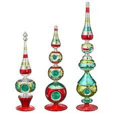 NEW Raz Set of 3 Retro Glass Standing Finial Christmas Decoration 3920081