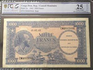 PCGS 25. Banque du Congo Belge 1000 francs 1962   VERY SCARCE