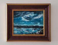 original framed seascape boats impressionism Maritime nautical painting signed