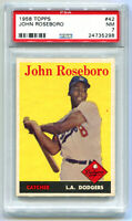JOHNNY JOHN ROSEBORO 1958 Topps Baseball Rookie RC #42 PSA 7 Near Mint NM Card