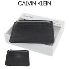 Mens Calvin Klein CK Textured Leather Credit Card Case Holder Black 7966996