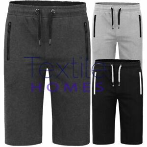 Mens 3/4 Shorts Zip Joggers Sport Skinny Track Knee Length Shorts Gym Bottom