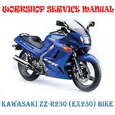 KAWASAKI ZZ-R250 (EX250) BIKE 1990-2008 WORKSHOP SERVICE MANUAL (DIGITAL e-COPY)