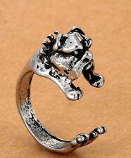Bulldog Dog Rings - Silver - Adjustable (R11)