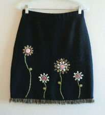 Willi Smith Sz 6 Black Boiled Wool Floral Embroidered Skirt Fringe