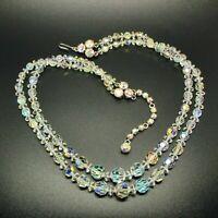 VINTAGE JEWELLERY Glamorous 1950s Rainbow Aurora Borealis Glass Bead NECKLACE
