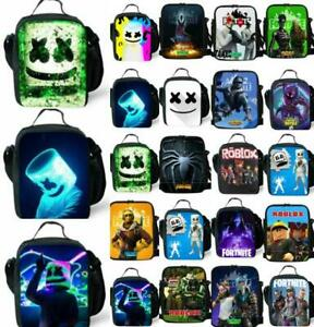 Kids Boys Girls DJ MarshMello Insulated Lunch Bag School Picnic Snack Lunchbox