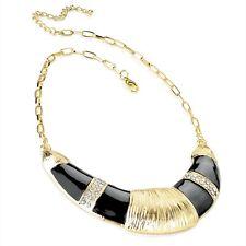 Black Enamel & Crystal Diamante Half Moon Shape On A Gold Colour Chain Necklace