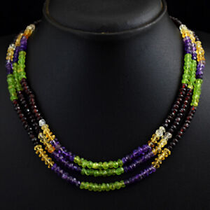 298 Cts Natural 3 Strand Amethyst & Citrine Faceted Beads Necklace JK 31E292