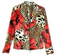 Vtg Joseph Ribkoff Animal Print floral zip Up Blazer Jacket Size 10 sequined