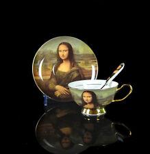 Authentic Bone China Mona Lisa Coffee Set Tea Set Tea Cup Saucer Spoon Daily Use