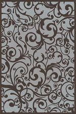 """8x8 Radici Grey Floral Swirls Curls Area Rug Round 1845 - Aprx 7' 10 x 7' 10"""""""
