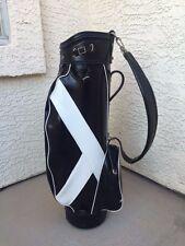 Vintage Men's Burton Jasper Alabama Black Leather Cart Golf Bag