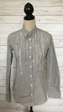 J Crew Gray/White Pinstripe Ruffled Button Front Shirt~Size 4